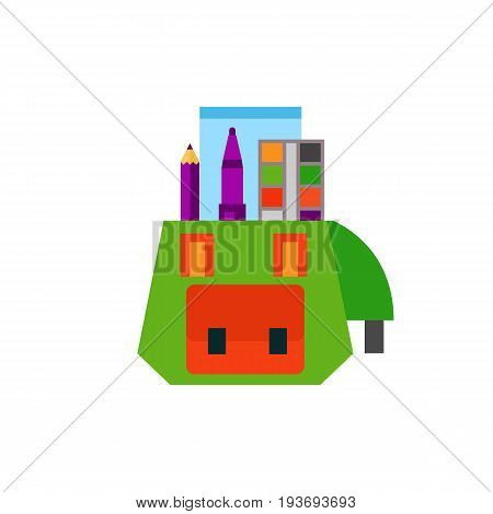 Icon of school bag. Backpack, supplies, studying, satchel. Education concept. Can be used for topics like college, university, school
