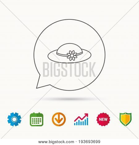 Female hat with flower icon. Women headdress sign. Calendar, Graph chart and Cogwheel signs. Download and Shield web icons. Vector