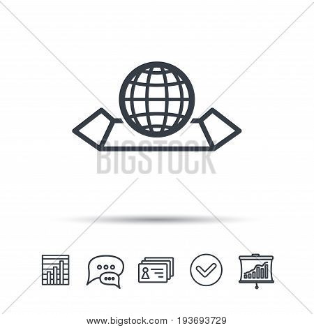 World map icon. Globe sign. Travel location symbol. Chat speech bubble, chart and presentation signs. Contacts and tick web icons. Vector