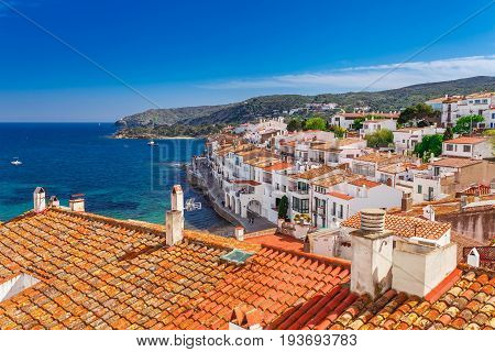 Top View In Cadaques, Catalonia, Spain Near Of Barcelona. Scenic Old Town With Nice Beach And Clear