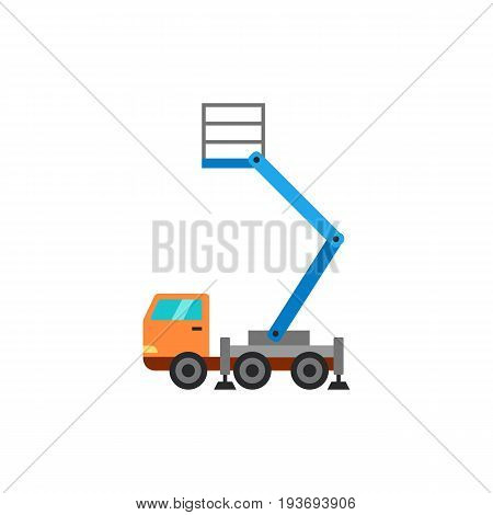 Vector icon of bucket truck. Crane car, erection works, cherry picker. Building equipment concept. Can be used for topics like construction, transport, maintenance
