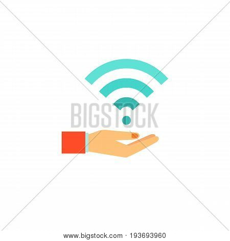 Icon of wifi connect in hand. Wifi network, holding, distribution. Wireless technology concept. Can be used for topics like radio waves, point connect or internet
