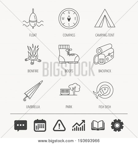 Park, fishing float and hiking boots icons. Compass, umbrella and bonfire linear signs. Camping tent, fish dish and tree icons. Education book, Graph chart and Chat signs. Vector