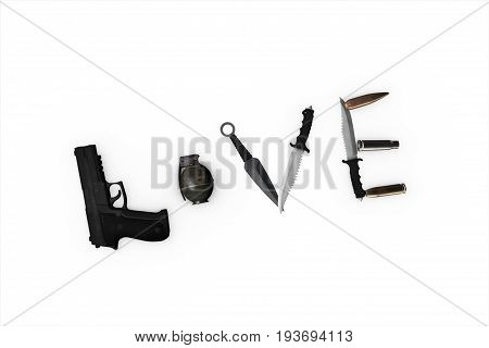 3D Illustration Of A Word Love Lined With A Gun On An Isolated Background