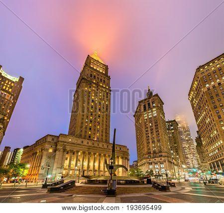 Thurgood Marshall United States Courthouse illuminated at night - Manhattan, New York City