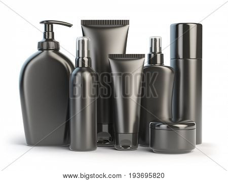 Set of cosmetic products.  Cosmetic series of different daily beauty care products isolated on white background. Black containers for cream, ointment, lotion and soap. 3d illustration