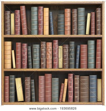 Bookshelf  with old books isolated on white background. Education library book store concept. 3d illustration