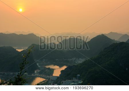 Sunset View From Cannon Fort In Cat Ba, Vietnam