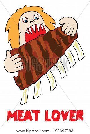 meat eater lover carnivore funny cartoon vector illustration