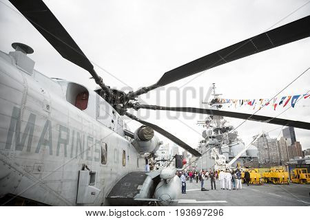 Ship Tour USS Kearsarge (LHD 3) Wasp-class amphibious assault ship: USMC Marine Corps Squadron HMH-461 Ironhorse CH-53E Sea Stallion helicopter, flight deck. Fleet Week NEW YORK MAY 25 2017.
