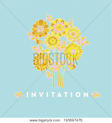 Naive style hand drawn decorative Marigold flower design element. floral vector illustration for surface design, invitation, card, poster