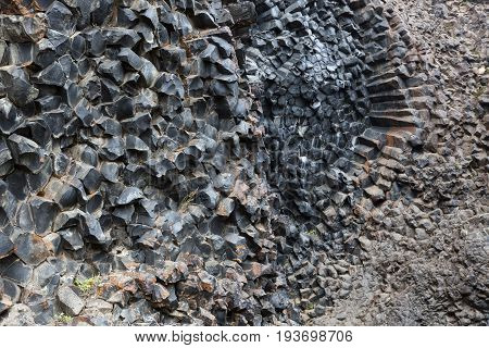 Natural Pattern Background Of Hexagonal Stone Formations In Icelandic National Park Jokulsargljufur.