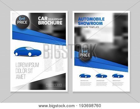 Car dealership brochure. Automobile showroom Leaflet Flyer template A4 size design.