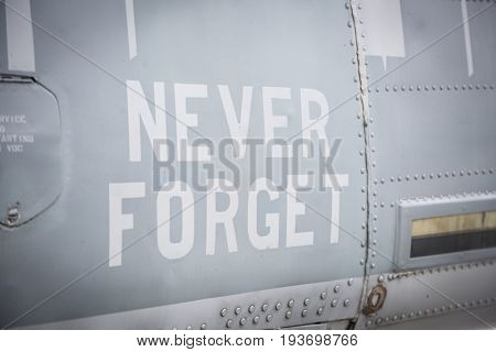 Ship Tour USS Kearsarge (LHD 3) Wasp-class amphibious assault ship: Never Forget, NYC skyline, WTC towers painted on Marine Corps AH-1W Cobra helicopter HMLA-16. Fleet Week NEW YORK MAY 25 2017.