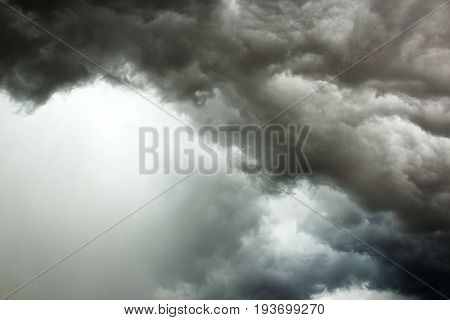 Black cloud in to the storm.Dark clouds rain storms are forming