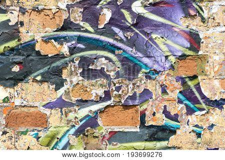 Graffiti Wall Background With Peeling Paint