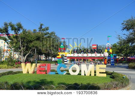 HOUSTON, USA - JANUARY 12, 2017: Welcome sign in the main entrance to Legoland. Legoland is a theme park based on the popular LEGO brand of building toys.