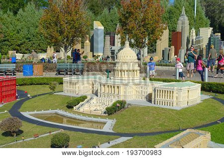 HOUSTON, USA - JANUARY 12, 2017: Miniature of the white house in USA is replete with inspiring reproductions, made with lego pieces.