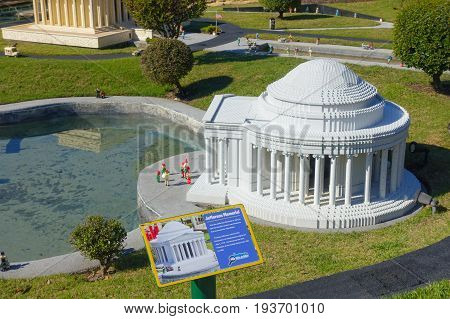 HOUSTON, USA - JANUARY 12, 2017: Miniature of Jeferson memorial building in USA is replete with inspiring reproductions.