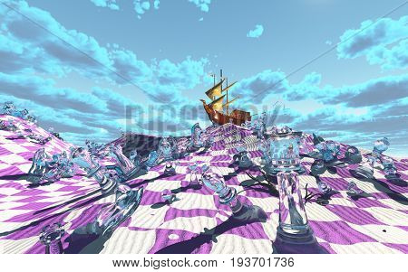 Vividly hued surreal checker board desert scene  3D Rendering