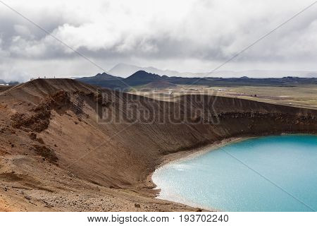 Viti Crater, Krafla Volcanic Area, Myvatn, Northern Iceland. Emerald Blue Waters Of The Lake Inside
