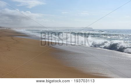 Wave and sand beach for background. Beautiful beach surface texture. Sea wave on sand beach digital illustration. Oceanic water tide on seashore. Belmont beach Australia.