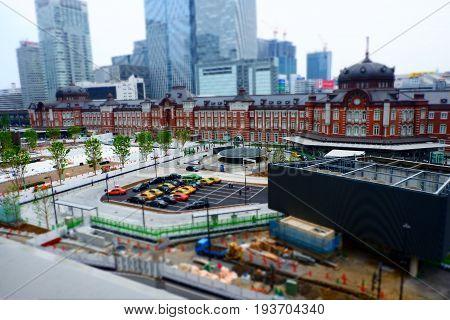 Tokyo station look alike toy landscape in photo