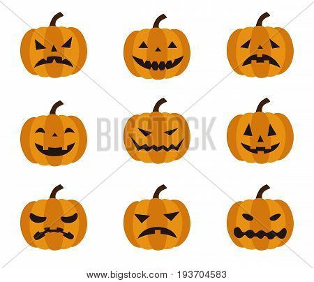 Halloween different facial expressions of Jack o Lantern