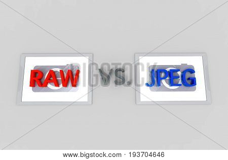 3d illustration. RAW image File Compare with JPEG image file concept.