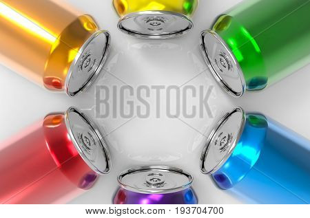 3d rendring. colorful beverage drink can with blank space at the center. can put any message title or picture on it.