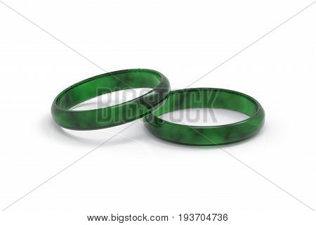 3d rendering. Realistic luxurious dark green Jade bracelet on white background