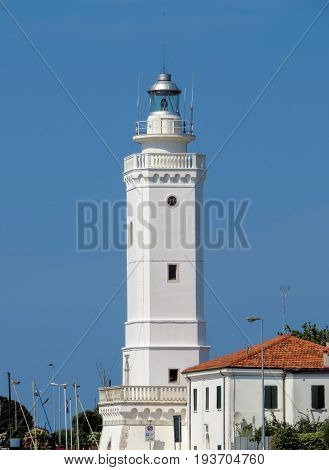 Ancient eighteenth century lighthouse in Rimini Italy