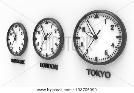 3d illustration of TOKYO LONDON and NEW YORK time clock