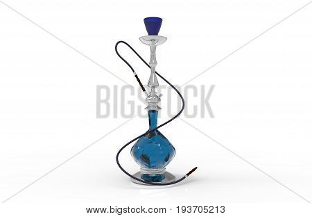 3d illustration. blue glass hookah with white background