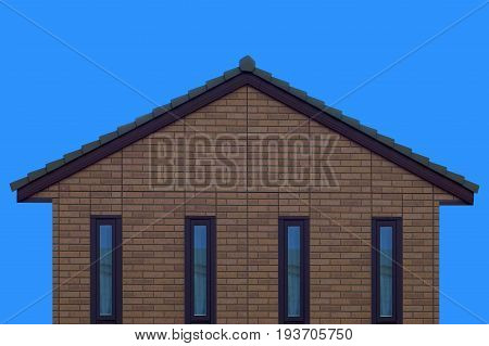 brick house wall gable roof and clear blue sky