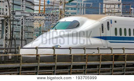 2017 JUNE 01. TOKYO JAPAN. The Shinkansen (Bullet Train) is arriving to tokyo station.