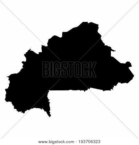 Burkina Faso Black Silhouette Map Outline Isolated On White 3D Illustration
