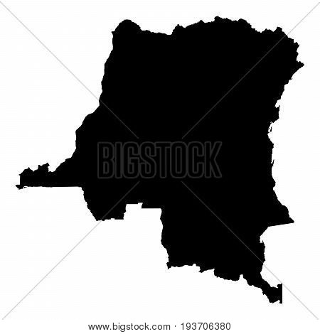 Dr Congo Black Silhouette Map Outline Isolated On White 3D Illustration
