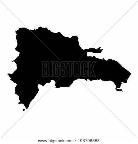 Dominican Republic Black Silhouette Map Outline Isolated On White 3D Illustration