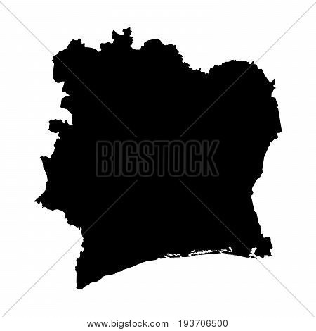 Cote D'ivoire Black Silhouette Map Outline Isolated On White 3D Illustration