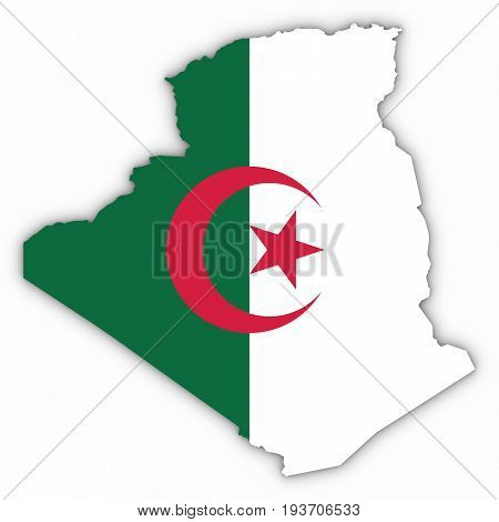 Algeria Map Outline With Algerian Flag On White With Shadows 3D Illustration