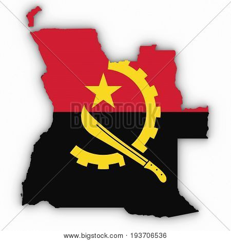 Angola Map Outline With Angolan Flag On White With Shadows 3D Illustration