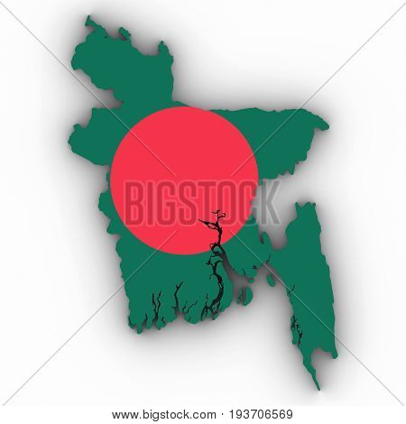 Bangladesh Map Outline With Bangladeshi Flag On White With Shadows 3D Illustration
