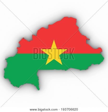 Burkina Faso Map Outline With Burkinabe Flag On White With Shadows 3D Illustration