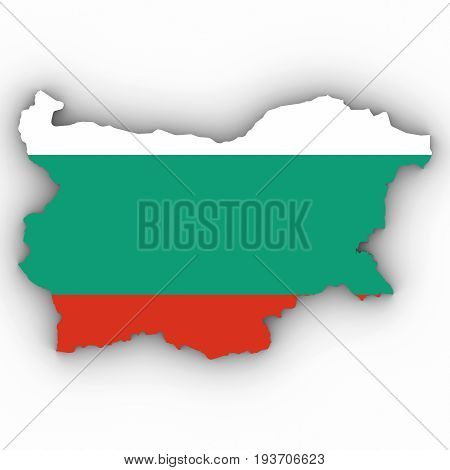 Bulgaria Map Outline With Bulgarian Flag On White With Shadows 3D Illustration