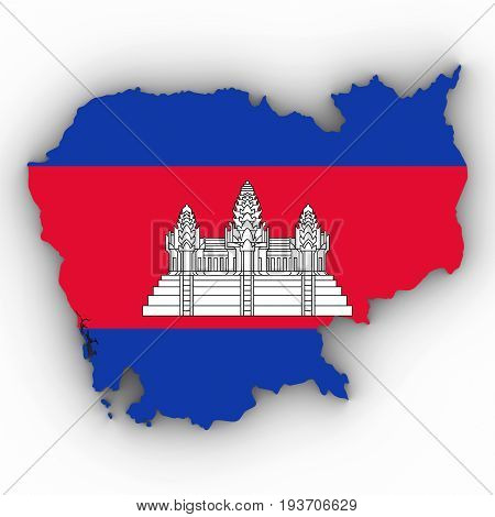 Cambodia Map Outline With Cambodian Flag On White With Shadows 3D Illustration