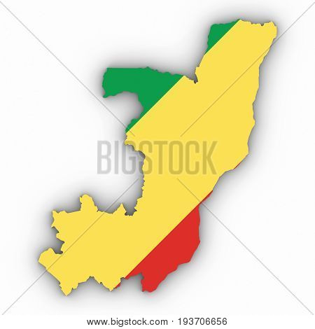 Congo Map Outline With Congolese Flag On White With Shadows 3D Illustration