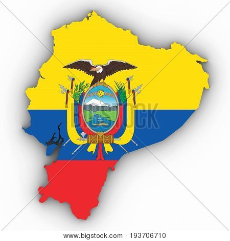 Ecuador Map Outline With Ecuadorian Flag On White With Shadows 3D Illustration