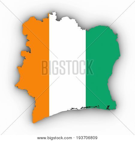 Cote D'ivoire Map Outline With Ivorian Flag On White With Shadows 3D Illustration