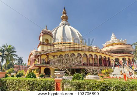 Temple of International Society for Krishna Consciousness (ISKON)- Gaudiya Vaishnava Hindu religious organisationat Mayapur near Nabadwip West BengalIndia. It is birthplace of Chaitanya Mahaprabhu.